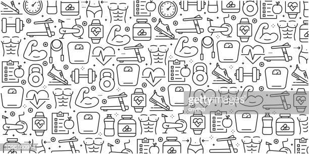 vector set of design templates and elements for fitness in trendy linear style - seamless patterns with linear icons related to fitness - vector - healthy eating stock illustrations