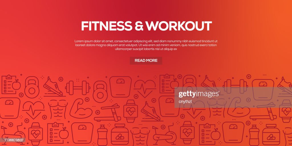 Vector set of design templates and elements for Fitness in trendy linear style - Seamless patterns with linear icons related to Fitness - Vector : stock illustration