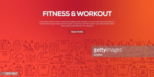 vector set of design templates and elements for fitness in trendy linear style - seamless patterns with linear icons related to fitness - vector - match sport stock illustrations, clip art, cartoons, & icons