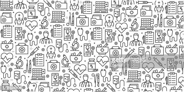 vector set of design templates and elements for healthcare and medicine in trendy linear style - seamless patterns with linear icons related to healthcare and medicine - vector - heart symbol stock illustrations