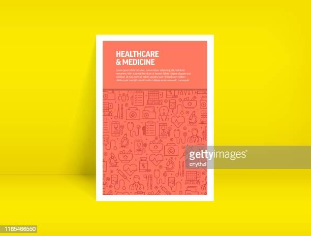 stockillustraties, clipart, cartoons en iconen met vector set van ontwerpsjablonen en elementen voor gezondheidszorg en geneeskunde in trendy lineaire stijl-patroon met lineaire pictogrammen in verband met gezondheidszorg en geneeskunde-minimalist cover, poster ontwerp - verpleegkundige