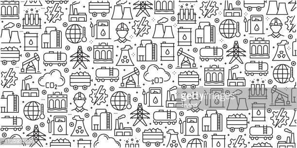 vector set of design templates and elements for heavy and power industry in trendy linear style - seamless patterns with linear icons related to heavy and power industry - vector - petrochemical plant stock illustrations, clip art, cartoons, & icons