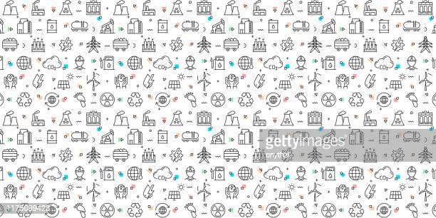 ilustrações, clipart, desenhos animados e ícones de vector o jogo de moldes e de elementos do projeto para a indústria pesada e da potência no estilo linear na moda-testes padrões sem emenda com os ícones lineares relativos à indústria pesada e do poder-vetor - fábrica petroquímica