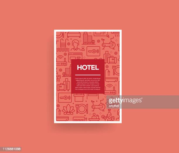 vector set of design templates and elements for hotel in trendy linear style - seamless patterns with linear icons related to hotel - vector - tourist resort stock illustrations, clip art, cartoons, & icons