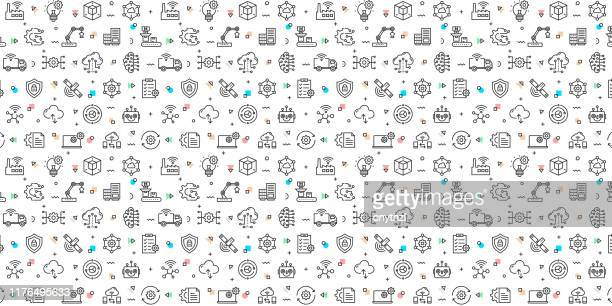 illustrazioni stock, clip art, cartoni animati e icone di tendenza di set vettoriale di modelli ed elementi di design per l'industria 4.0 in stile lineare alla moda - motivi senza soluzione di continuità con icone lineari relative all'industria 4.0 - vector - internet delle cose