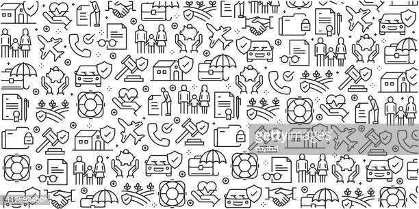 vektor-set von design-vorlagen und elementen für die versicherung in trendigen linearen stil - musterdesigns mit linearen symbole im zusammenhang mit versicherungen - vektor - versicherung stock-grafiken, -clipart, -cartoons und -symbole