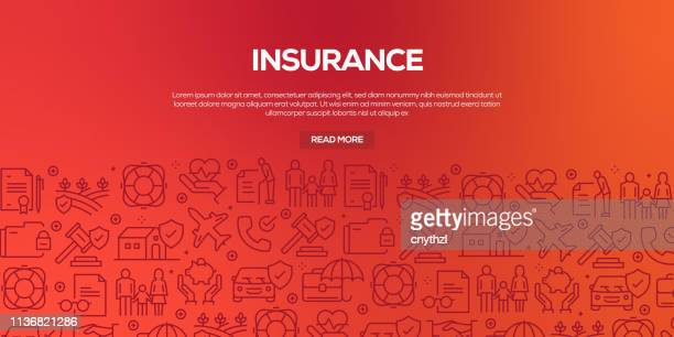 vector set of design templates and elements for insurance in trendy linear style - seamless patterns with linear icons related to insurance - vector - graphic car accidents stock illustrations