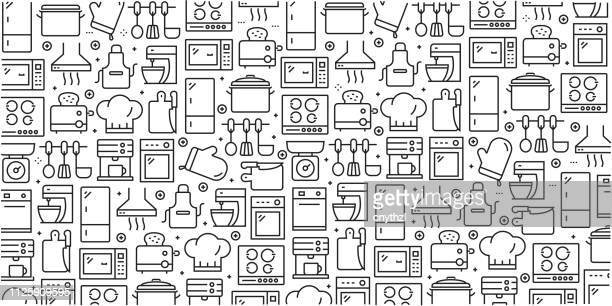 vector set of design templates and elements for kitchen utensil in trendy linear style - seamless patterns with linear icons related to kitchen utensil - vector - kitchen utensil stock illustrations