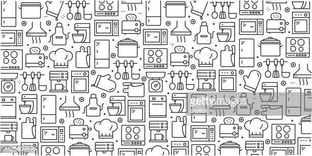 stockillustraties, clipart, cartoons en iconen met vector set van ontwerpsjablonen en elementen voor keuken gebruiksvoorwerp in trendy lineaire stijl - naadloze patronen met lineaire pictogrammen aan keuken gebruiksvoorwerp - vector gerelateerde - keukengereedschap