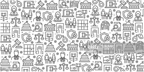ilustrações de stock, clip art, desenhos animados e ícones de vector set of design templates and elements for law and justice in trendy linear style - seamless patterns with linear icons related to law and justice - vector - legal system