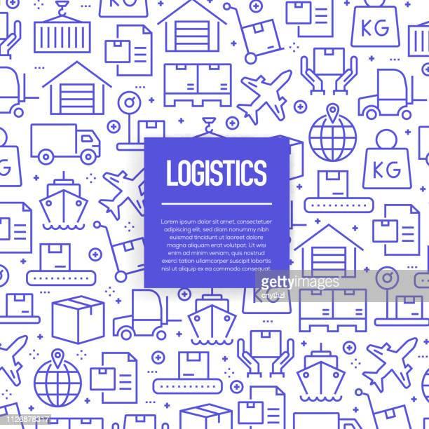 illustrazioni stock, clip art, cartoni animati e icone di tendenza di set vettoriale di modelli ed elementi di design per la logistica in stile lineare alla moda - modelli senza soluzione di continuità con icone lineari relative alla logistica - vector - cantiere navale