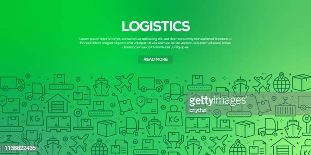 ilustrações, clipart, desenhos animados e ícones de jogo do vetor de moldes e de elementos do projeto para a logística no estilo linear na moda-testes padrões sem emenda com os ícones lineares relacionados à logística-vetor - frete