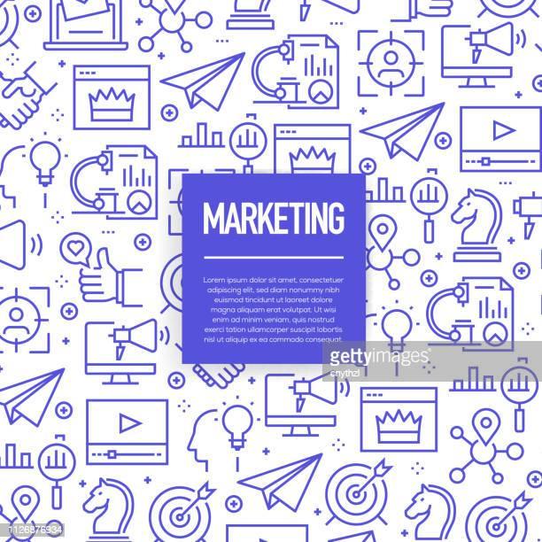 ilustrações, clipart, desenhos animados e ícones de conjunto de vetor de modelos de design e elementos de marketing na moda estilo linear - padrões sem emenda com lineares ícones relacionados ao marketing - vector - marketing
