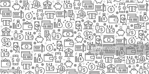 vector set of design templates and elements for money in trendy linear style - seamless patterns with linear icons related to money - vector - bank stock illustrations