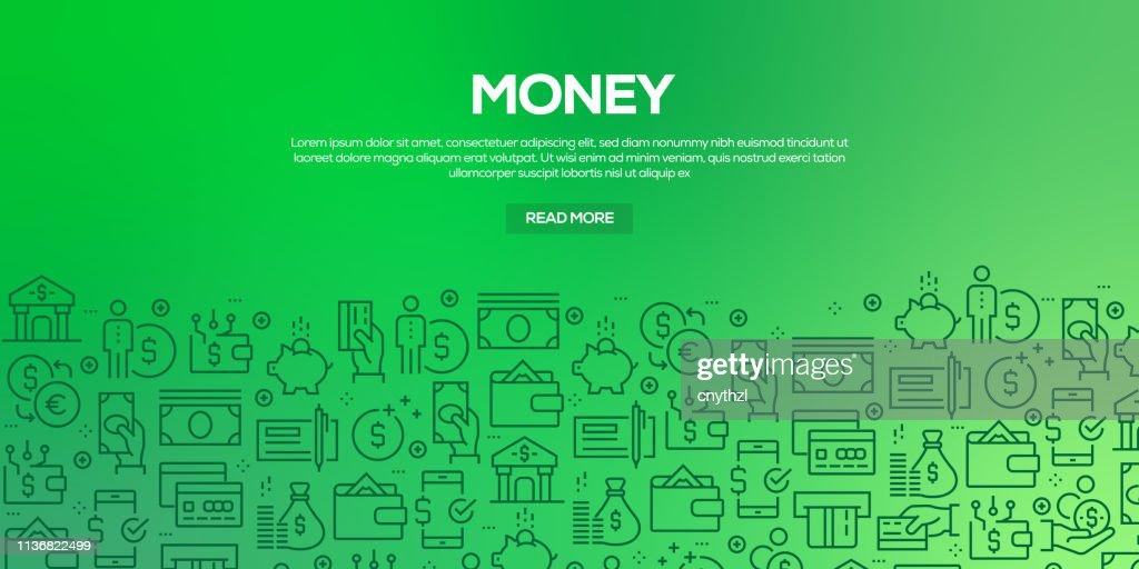 Vector o jogo de moldes e de elementos do projeto para o dinheiro no estilo linear na moda-testes padrões sem emenda com os ícones lineares relacionados ao dinheiro-vetor : Ilustração