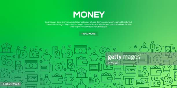 vector set of design templates and elements for money in trendy linear style - seamless patterns with linear icons related to money - vector - investment stock illustrations