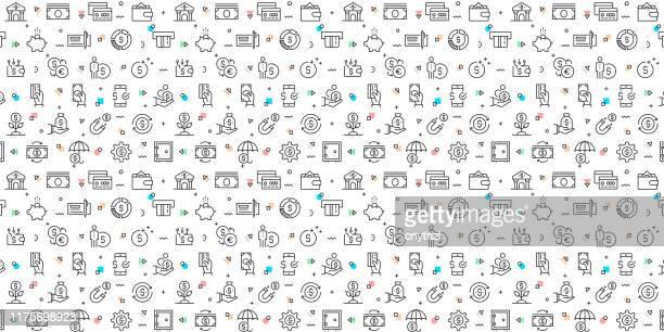 illustrazioni stock, clip art, cartoni animati e icone di tendenza di set vettoriale di modelli di design ed elementi per money in stile lineare alla moda - modelli senza soluzione di continuità con icone lineari relative a money - vector - rappresentazione umana