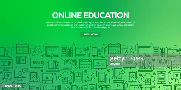 vector set of design templates and elements for online education in trendy linear style - seamless patterns with linear icons related to online education - vector - library stock illustrations