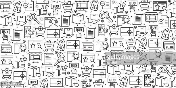 vector set of design templates and elements for online shopping in trendy linear style - seamless patterns with linear icons related to online shopping - vector - ordering stock illustrations, clip art, cartoons, & icons