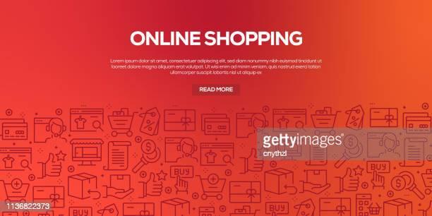 Conjunto vectorial de plantillas de diseño y elementos para compras en línea en estilo lineal de moda-patrones sin fisuras con iconos lineales relacionados con la compra en línea-Vector