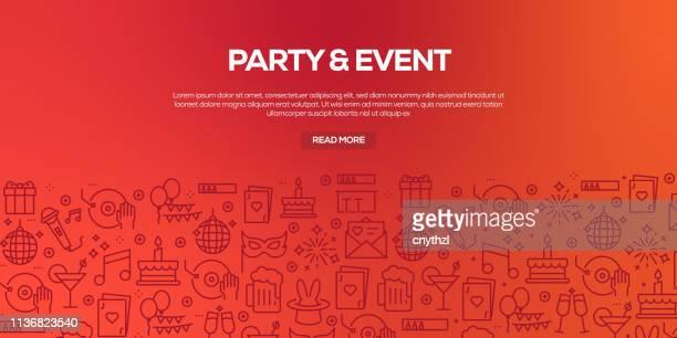 トレンディな線形スタイルに関連するパーティーやイベントのためのデザインテンプレートと要素のベクトルセット-パーティーやイベント関連ベクトルに関連する線形アイコンを持つシーム