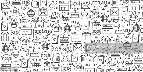 vector set of design templates and elements for party related in trendy linear style - seamless patterns with linear icons related to party related - vector - fun stock illustrations