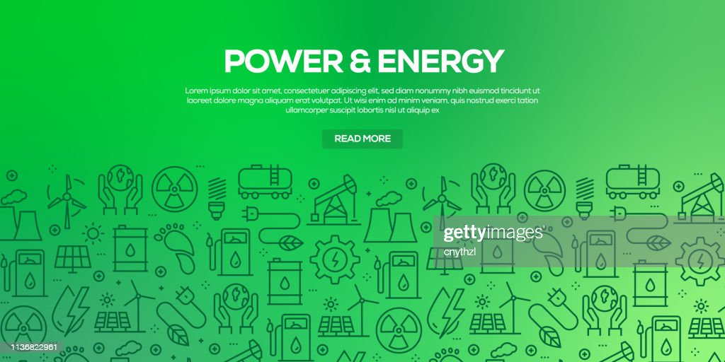 Vector set of design templates and elements for Power and Energy in trendy linear style - Seamless patterns with linear icons related to Power and Energy - Vector : stock illustration