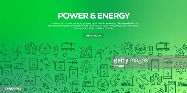 vector set of design templates and elements for power and energy in trendy linear style - seamless patterns with linear icons related to power and energy - vector - fuel station stock illustrations, clip art, cartoons, & icons