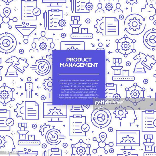 illustrazioni stock, clip art, cartoni animati e icone di tendenza di vector set of design templates and elements for product management in trendy linear style - seamless patterns with linear icons related to product management - vector - senza persone