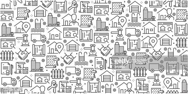 vector set of design templates and elements for real estate in trendy linear style - seamless patterns with linear icons related to real estate - vector - loan stock illustrations