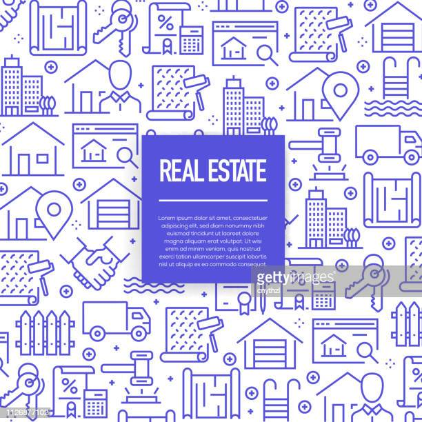 vector set of design templates and elements for real estate in trendy linear style - seamless patterns with linear icons related to real estate - vector - housing development stock illustrations