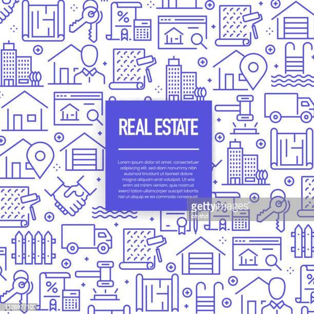 ilustraciones, imágenes clip art, dibujos animados e iconos de stock de conjunto de vector de plantillas de diseño y elementos de bienes raíces en estilo moderno - patrones sin fisuras con iconos lineales relacionados con real estate - vector - actividad física
