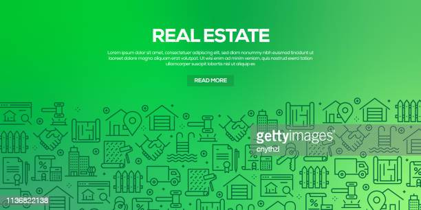 vector set of design templates and elements for real estate in trendy linear style - seamless patterns with linear icons related to real estate - vector - mortgage loan stock illustrations