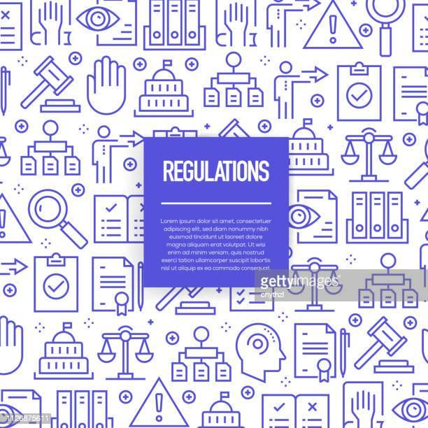 illustrations, cliparts, dessins animés et icônes de jeu de modèles de conception et les éléments vectorielles pour règlement dans un style linéaire branché - profils sans soudure avec icônes linéaires liées à des règlements - vector - droit