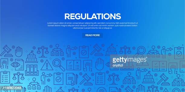 vector set of design templates and elements for regulations in trendy linear style - seamless patterns with linear icons related to regulations - vector - office safety stock illustrations, clip art, cartoons, & icons