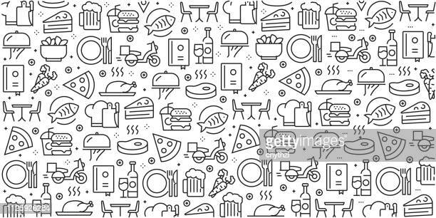 vector set of design templates and elements for restaurant and food in trendy linear style - seamless patterns with linear icons related to restaurant and food - vector - food stock illustrations