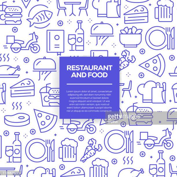 vector set of design templates and elements for restaurant and food in trendy linear style - seamless patterns with linear icons related to restaurant and food - vector - menu background stock illustrations
