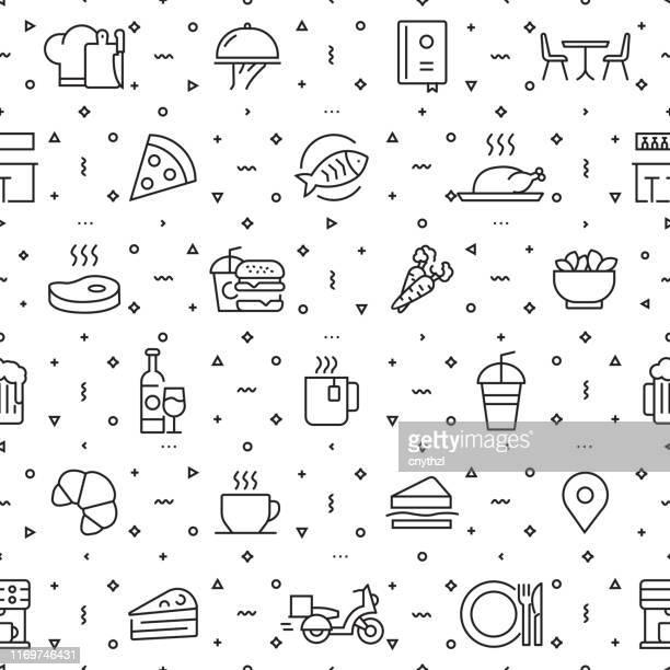 トレンディな線形スタイルのレストランと食品のためのデザインテンプレートと要素のベクトルセット - レストランと食品に関連する線形アイコンを持つシームレスなパターン - ベクトル - 高級グルメ点のイラスト素材/クリップアート素材/マンガ素材/アイコン素材
