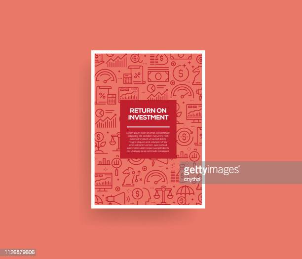 vector set of design templates and elements for return on investment in trendy linear style - seamless patterns with linear icons related to return on investment - vector - return on investment stock illustrations