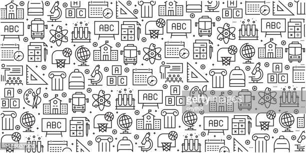 vector set of design templates and elements for school in trendy linear style - seamless patterns with linear icons related to school - vector - back to school stock illustrations
