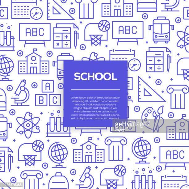 ilustraciones, imágenes clip art, dibujos animados e iconos de stock de conjunto de vector de diseño de plantillas y elementos para la escuela estilo moderno - en patrones sin fisuras con iconos lineales relacionados con a la escuela - vector - edificio escolar