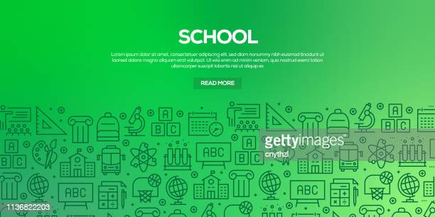 vector set of design templates and elements for school in trendy linear style - seamless patterns with linear icons related to school - vector - human back stock illustrations