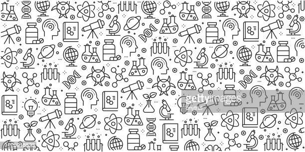 vector set of design templates and elements for science in trendy linear style - seamless patterns with linear icons related to science - vector - chemistry stock illustrations