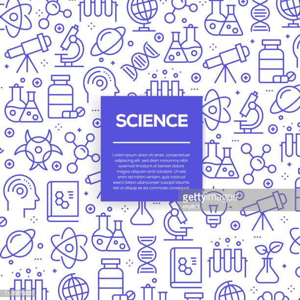 vector set of design templates and elements for science in trendy linear style - seamless patterns with linear icons related to science - vector - science stock illustrations