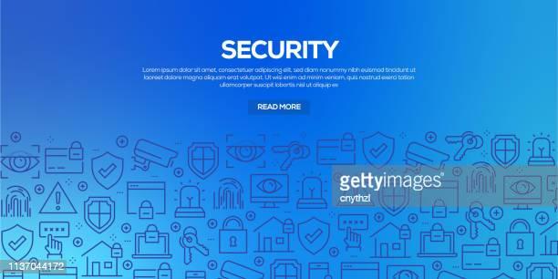 ilustrações, clipart, desenhos animados e ícones de jogo do vetor de moldes e de elementos do projeto para a segurança no estilo linear na moda-testes padrões sem emenda com os ícones lineares relacionados à segurança-vetor - confidential