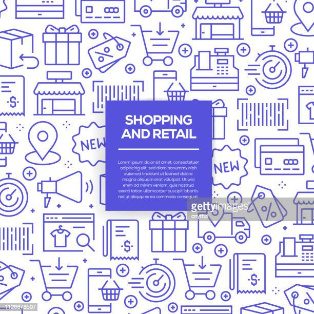 vector set of design templates and elements for shopping and retail in trendy linear style - seamless patterns with linear icons related to shopping and retail - vector - shopping mall stock illustrations