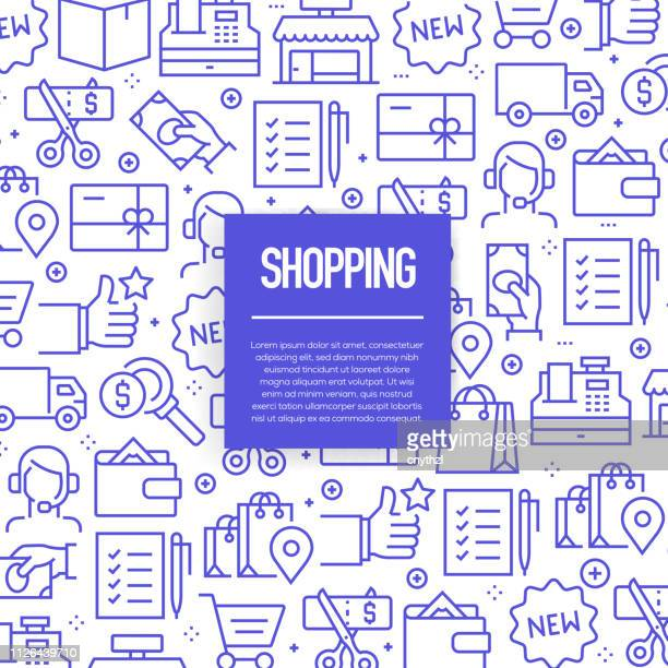 vector set of design templates and elements for shopping in trendy linear style - seamless patterns with linear icons related to shopping - vector - retail stock illustrations