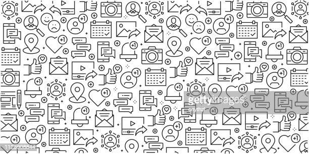 vector set of design templates and elements for social media in trendy linear style - seamless patterns with linear icons related to social media - vector - marketing stock illustrations