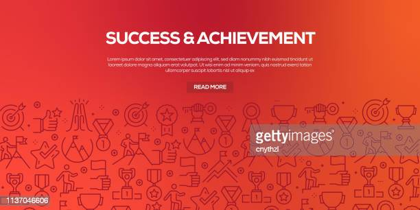Vector set of design templates and elements for Success and Achievement in trendy linear style - Seamless patterns with linear icons related to Success and Achievement - Vector