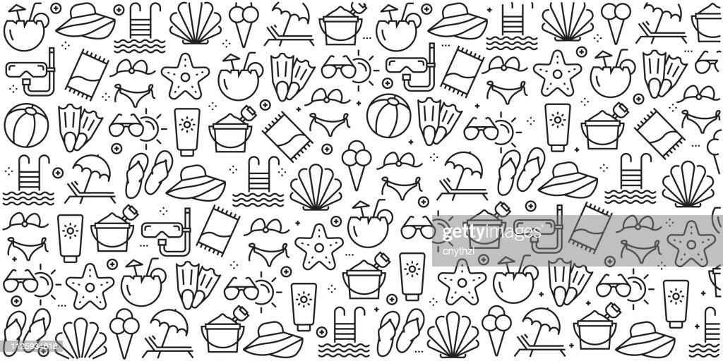 Vector ensemble de modèles de conception et d'éléments pour l'été et de la plage dans un style linéaire branché - profils sans soudure avec icônes linéaires associés à l'été et la plage - vecteur : Illustration